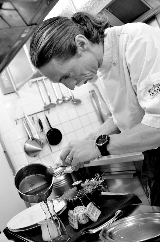 Le Rosebud, restaurant de l'hotel du Jeu de Paume, au Lavancher. Chef: Eric de Ganck. Vallée de Chamonix. Haute-Savoie. France.
